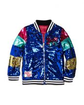 Jojo Siwa by Betsey Johnson Girls' Color-Block Sequin Bomber Jacket